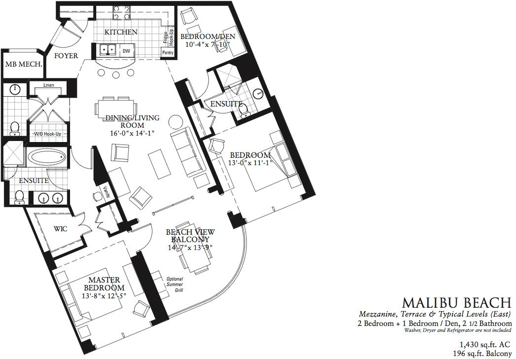 malibu beach floor plan